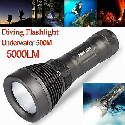 5000Lm XM-L T6 LED Diving Scuba Flashlight 18650 Underwater 500M Dive Torch Lamp