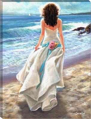 Painting by Number kit Nice Back Bride At The Seaside Lady Woman Beauty HT7053
