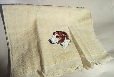 JACK RUSSELL TERRIER Embroidered Cream color Finger Towel