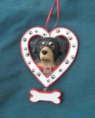 Dog Face ROTTWEILER in Heart Xmas Ornament CLEARANCE SALE