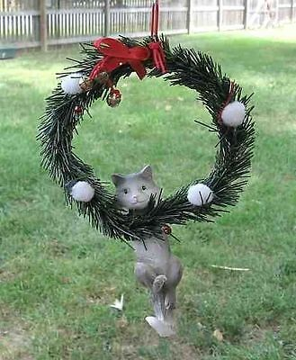 Cat Hanging GRAY CAT in Wreath Christmas Ornament CLEARANCE SALE