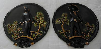 "Set of Two Vintage Mid-Century Chalkware Oriental Plaques MAN & WOMAN 15"" Round"
