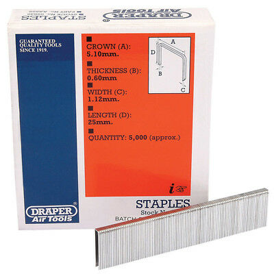 5000 Draper 25mm Staples To Fit For 57555 Air Stapler and 83659 Electric Stapler