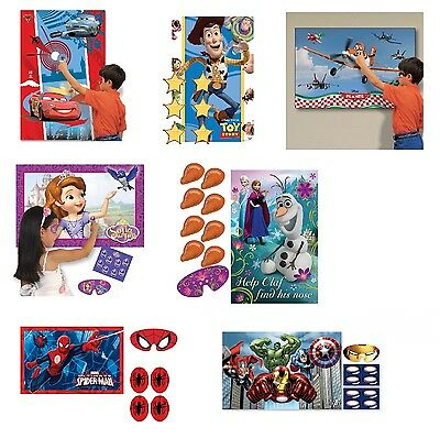 Kids Licensed Character PARTY GAME - Disney Marvel Pin The Tail Nose Badge Type