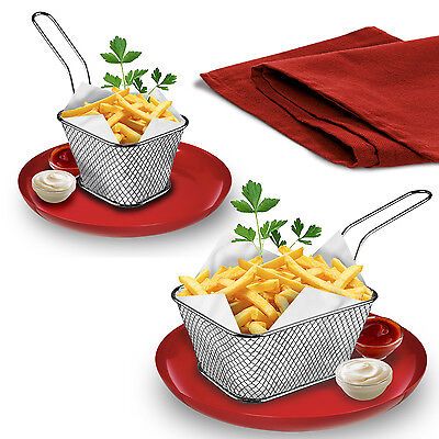 Mini Chip French Fries Crisps Serving Baskets Dish Party Fryer Restaurant Style