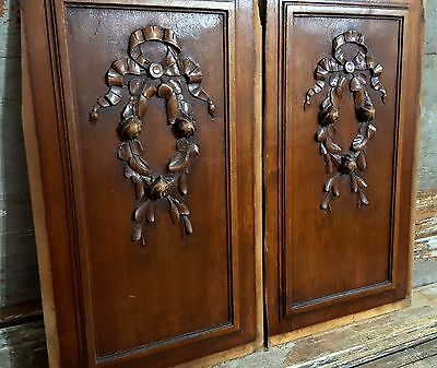 BOW FLOWER PANEL ANTIQUE FRENCH WALNUT CARVED WOOD SALVAGED PEDIMENT 19th 18.6in