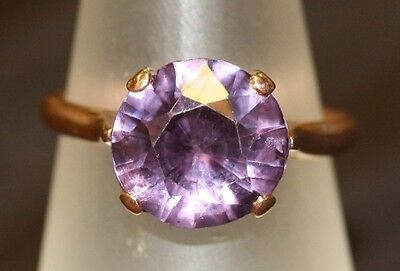 Vintage Very Pretty Rose Gold And Amethyst Designer Ladies Ring