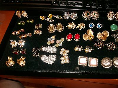Lot of 27 Pair Vintage Clip On Earrings  Coro Bogoff Trifari Sarah Cov and Blank