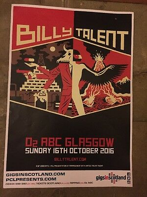 Billy Talent - Rare Gig Poster - Glasgow , Oct 2016