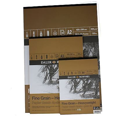 Daler Rowney Fine Grain Artists drawing Sketch paper Pad 200gsm A2, A3, or A4