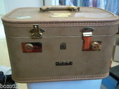 """VINTAGE US TRUNK CO. COSMETIC TRAVEL TRAIN CASE SUITCASE w/ MIRROR 14x9.5x8"""""""