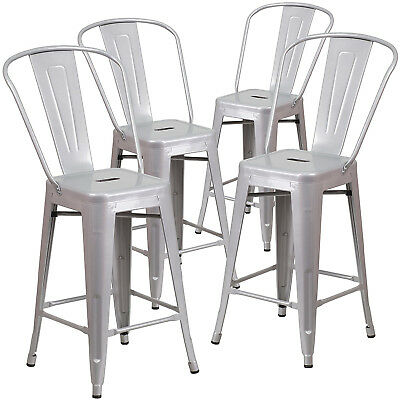 Set of 4 Steel Bar Stools Vintage Antique Style Counter Bar Stool w/ High Back