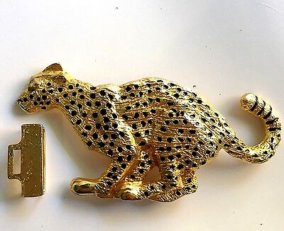 Vintage Huge Dotty Smith Leopard Panther Lion Cat Belt Buckle Goldtone
