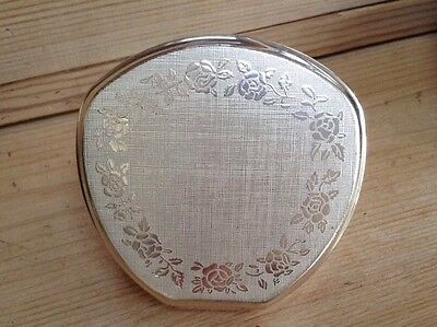 Vintage Stratton Silver Plate Compact Mirror Silver Inlaid Rose Design Beautiful