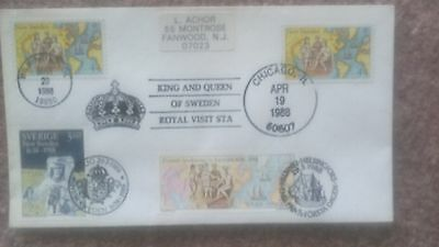 Sweden Finland & Usa  Unusual Triple Country Sister Stamp 1988 Fdc + Royal Visit