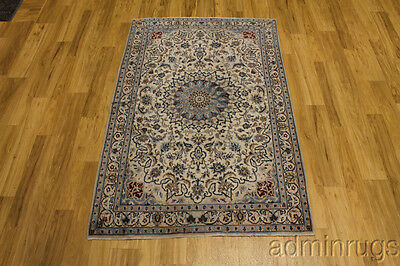 S Antique Classic Blue Nain Tabas Handmade Persian Oriental Area Rug Carpet 4X6