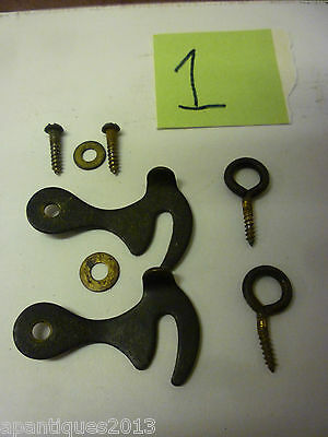 Pair Original Large 1930s Grandfather Clock Door Fastening Hooks+Eyes Complete