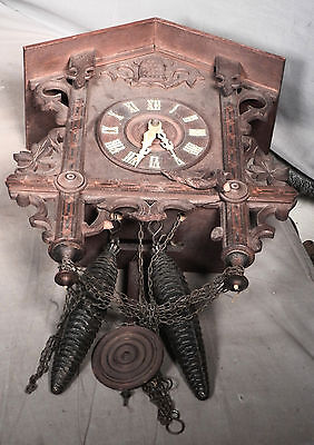 Antique Black Forest Carved Cuckoo Clock Pine Cone Weights Inlaid Kuner Railroad