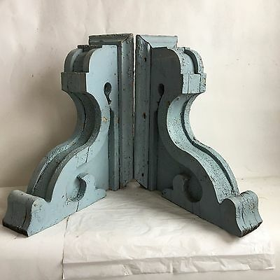 "19"" Antique Pair(2) 1890's Wood Corbels Brackets Gingerbread Victorian Blue A"