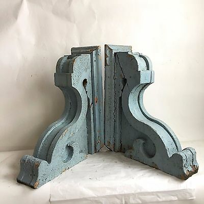 "19"" Antique Pair(2) 1890's Wood Corbels Brackets Gingerbread Victorian Blue B"