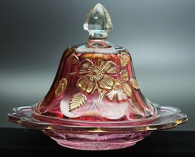 Northwood - GOLD ROSE - Ruby Stain & Gold Butter Dish with Cover