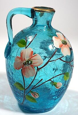 Crackle Glass Jug with Hand Painted Flowers - Signed  E. Cantrell