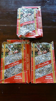3 boxes Vintage Grant's Christmas Tree Garland Silver Tinsel West Germany silver