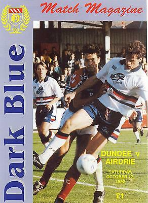 Dundee FC v Airdrieonians (Airdrie) 17/10/1992 match programme