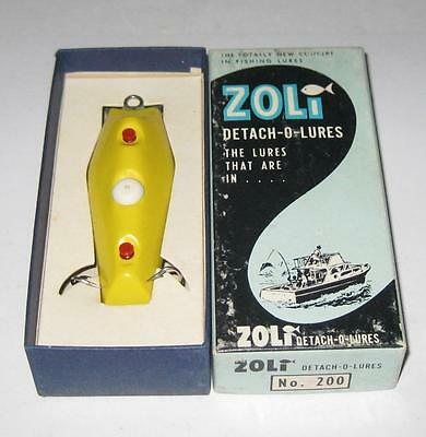 2 ZOLI No. 200 DETACH-O-LURE NEW IN THE BOX MADE IN NEW JERSEY YELLOW