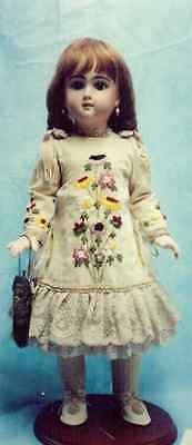 """20-21""""antique French-German Doll Ribbon Embroidery Bustle Dress&boots Pattern"""