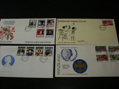 Swaziland FOUR First Day Covers 1985-86 Queen Birthday,Mum,Youth, Halleys Comet