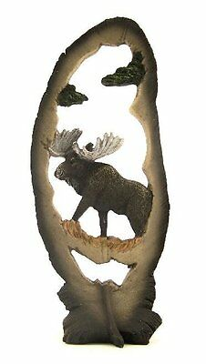 8 Inch Medium Feather Carving Moose Design Collectible Figurine
