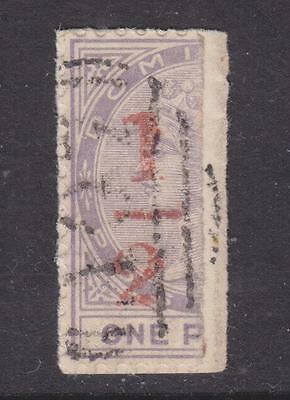 DOMINICA, 1882 1/2 in Red on half 1d. Lilac on small piece.