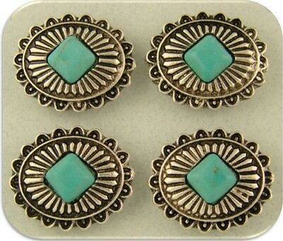2 Hole Beads Faux Turquoise Conchos ~ Silver Plated Metal Castings Sliders QTY 4