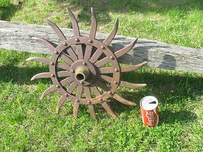 Antique Rustic Garden Art Steam Punk Industrial Iron Rotary Hoe Wheel John Deere