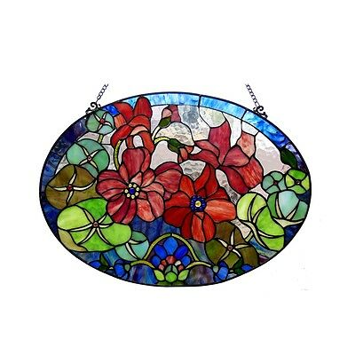 "Handcrafted 24"" W x 18"" H Roses Floral Tiffany Style Stained Glass Window Panel"