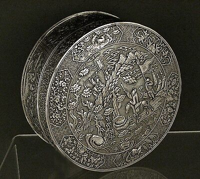 Chinese Export Silver Box        WARRIORS BATTLE     28OZ