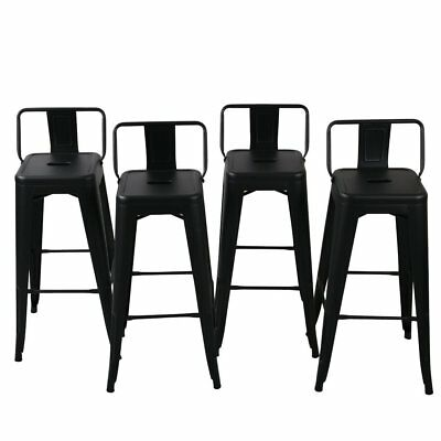 NEW Low Back Indoor / Outdoor Chair Stool Counter Height Stools Black (Set of 4)