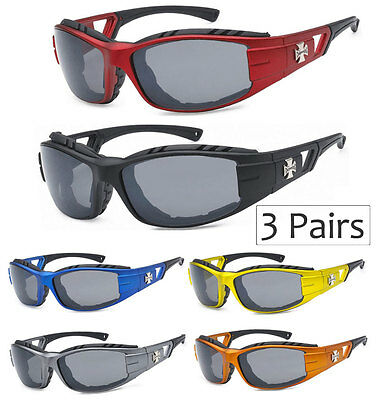 3 Pairs Choppers Men Women Padded Motorcycle Riding Sunglasses Biker Goggles