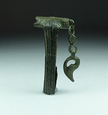 Rare Ancient Roman Bronze Chatelain Type Brooch 2Nd Ad