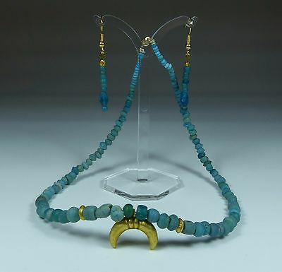 Stunning Ancient Roman Gold Luna Pendant Necklace & Earrings Set 2Nd Century Ad
