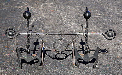 EARLY AMERICAN ANDIRONS Hand Wrought Iron - CROSSBAR & SWAG CHAIN Firedogs 19thC