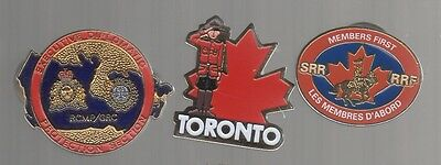 RCMP pins: Toronto; Members First SRR RRF; Exec Diplomatic Protection Section