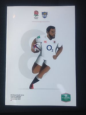 NEW ENGLAND v ARGENTINA OLD MUTUAL Series Rugby Union Programme 26/11/2016