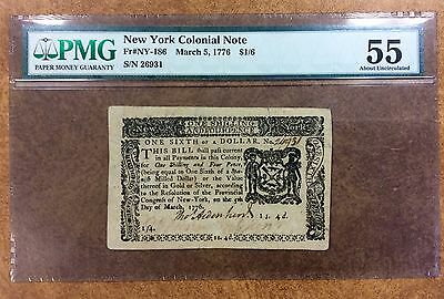 {BJSTAMPS} 1776 $1/6 New York Colonial Note Fr# NY186 PMG AU55 Stork revserse