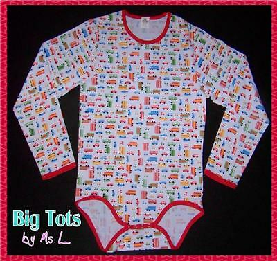 Adult Baby TRANSPORTATION LONG Sleeve bodysuit *Big Tots Exclusive*