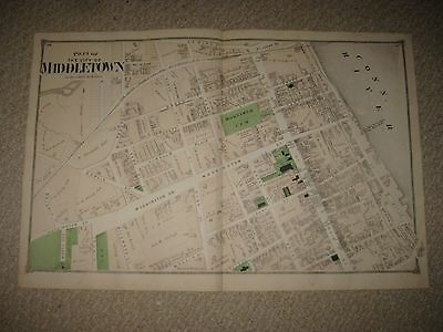 Mint Rare Antique 1874 Middletown Middlesex County Connecticut Handcolored Map