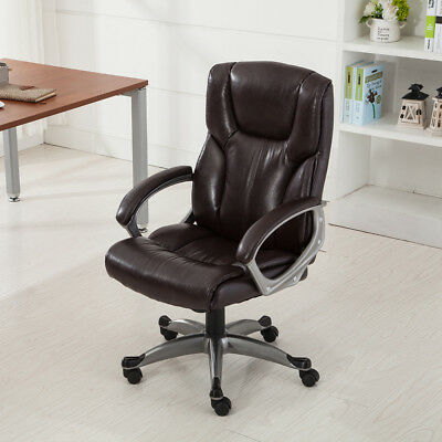 Ergonomic Office Chair PU Leather High Back Executive Computer Desk Task Mocha