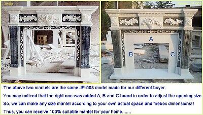 Customize Your Own Size 100%Natural Marble Hand Carved Fireplace Mantel Surround
