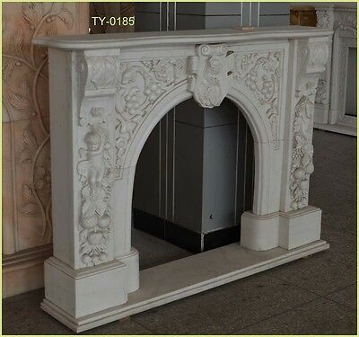 Customize own personalized UNIQUE Natural Marble Hand Carved Fireplace Mantel